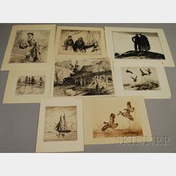 American School, 20th Century      Lot of Eight Etchings, Including Works by   Harrison Cady, Mill; A. Conway Peyton, Gulls