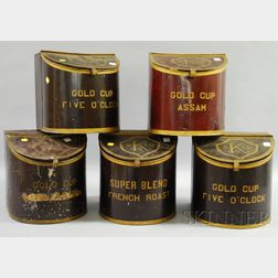 Five K. & Co. Inc. Gold Cup Painted Tin Retail Countertop Coffee Bins