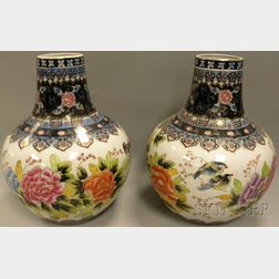 Pair of Large Modern Japanese Polychrome-decorated Porcelain Vases