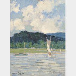 Walter Farndon (American, 1876-1964)      Coastal Scene with Sailboats