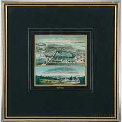 Hand-colored Lithograph of Boston