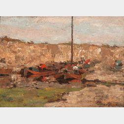Jacob Maris (Dutch, 1837-1899)      Canal Boats