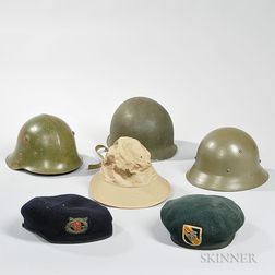 Six Pieces of 20th Century Military Headgear