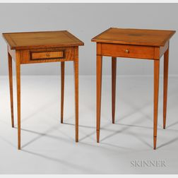 Two Inlaid One-drawer Stands