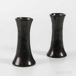 Pair of San Ildefonso Black-on-black Pottery Candlesticks