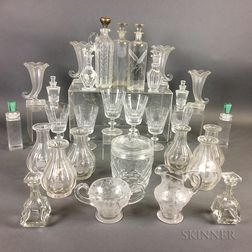 Thirty Pieces of Colorless Glass Tableware