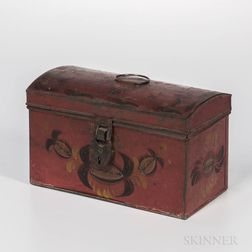 Red-painted Tin Document Box