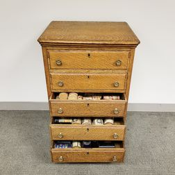 Large Group of Edison Phonograph Wax Cylinders in an Oak Chest