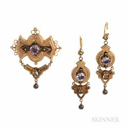Victorian Gold Brooch and Earrings