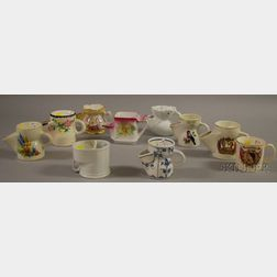 Ten Assorted Porcelain and Ceramic Shaving Scuttles