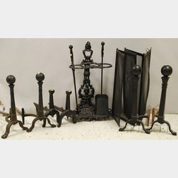 Ten Pieces of Mostly Iron Fireplace Equipment