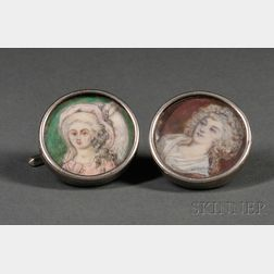 Pair of Continental Silver Cuff Links Mounted with Portrait Miniatures on Ivory