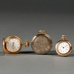 A. Lange & Sohne 18kt Gold Hunting Case Watch and Two Other Swiss Gold Case Watches