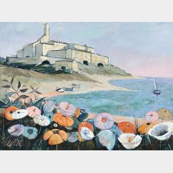 Charles Levier (French, 1920-2003)      Flowers Along the French Coast