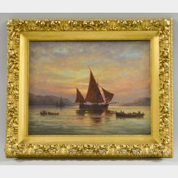 C. Myron Clark (Massachusetts, 1858-1925)       Sunset Harbor Scene