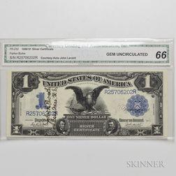 1899 $1 Silver Certificate, CGA Gem Uncirculated 66, Fr. 232