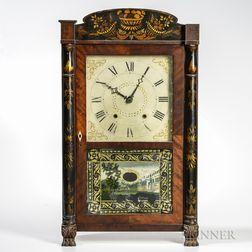M. & E. Blakeslee Stenciled Column and Splat Shelf Clock