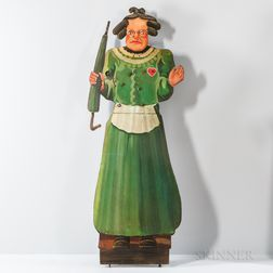 Iron Shooting Gallery Target Figure of an Old Woman