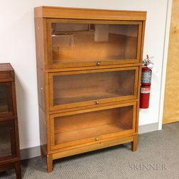 Glazed Golden Oak Three-stack Barrister Bookcase