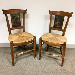 Pair of Continental Paint-decorated Fruitwood Side Chairs