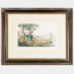 Pair of Hand-colored Sporting Etchings:      Fly Fishing