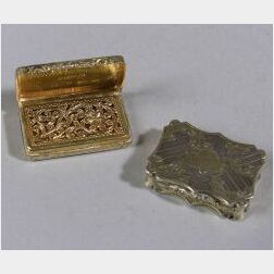 Two English Victorian Silver Gilt Vinaigrettes