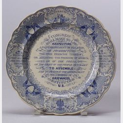 Blue Transfer Decorated Staffordshire Pottery Anti-Slavery Plate