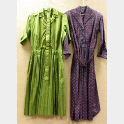 Three Mid-20th Century Lady's Print Dresses and a Floral Embroidered White Cotton   Sun Dress