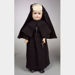 Kestner Bisque Head Doll in Nun's Garb