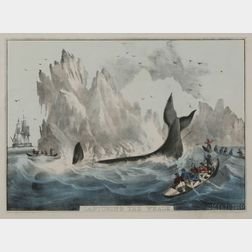 """Nathaniel Currier, publisher (American, 1813-1888)      Capturing the Whale.,"""""""