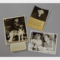 Three Jean Harlow MGM Studio Publicity and News Press Photographs with Typed Press   Snipes