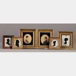 Four Framed Silhouettes and a Pair of Portrait Miniatures