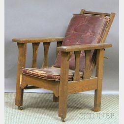 Child's Arts & Crafts Oak Slat-sided Morris Chair