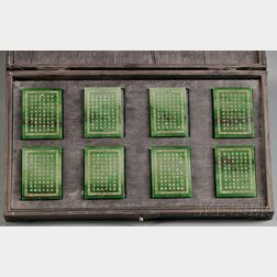 Eight Jade Plaques with Wood Case