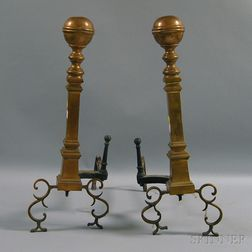 Pair of Brass Belted Ball-top Andirons