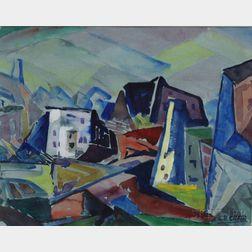 Leighton R. Cram (American, 1895-1981)      Hillside Village.