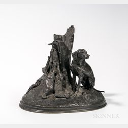 After Pierre-Jules Mêne (French, 1810-1879)  Chien Braque, Anglais pur – sang, Gardant du Gibier/Bronze Figure of a...