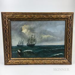 American School, 19th Century       Maritime Scene with Ships Under Sail