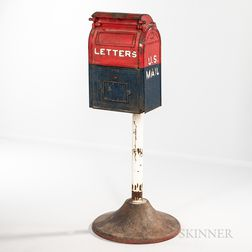 Painted Cast Iron US Mail Letters Box and Base