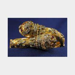 18kt Gold, Diamond, and Gem-set Bypass Bangle