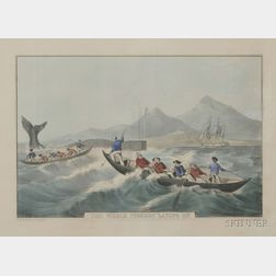 """Nathaniel Currier, publisher (American, 1813-1888)      The Whale Fishery """"Laying On.,"""""""