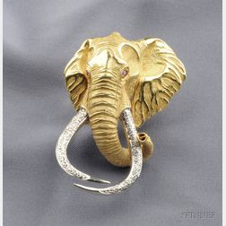 "18kt Gold Gem-set ""Shawu"" Elephant Brooch"
