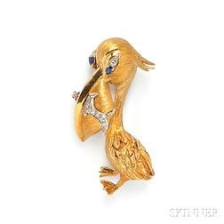 18kt Gold Gem-set Pelican Brooch