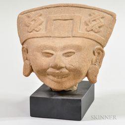 Pre-Columbian Pottery Head Fragment