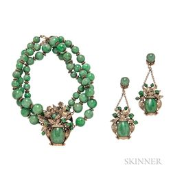 14kt Gold and Jade Necklace and Earclips