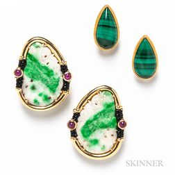 Two Pairs of Gold and Hardstone Earrings