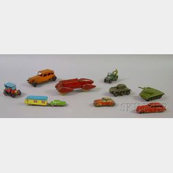 Nine Assorted Small Painted Metal Toy Cars and Military Vehicles
