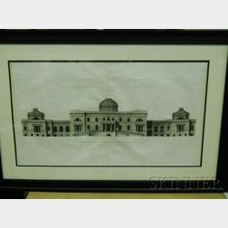 Pair of Large Folio English Engravings and Aquatints of Architectural Elevations