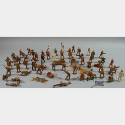 Approximately Sixty Barclay Painted Lead Toy Soldiers and Related Materials