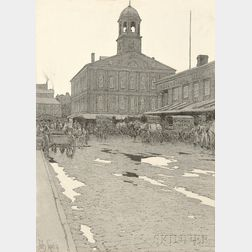 Jules Guérin (American, 1866-1946)      Faneuil Hall